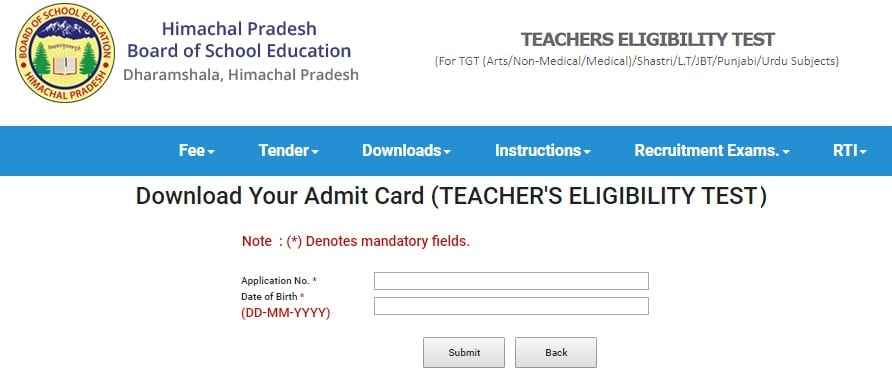 HP TET Admit Card - hpbose.org
